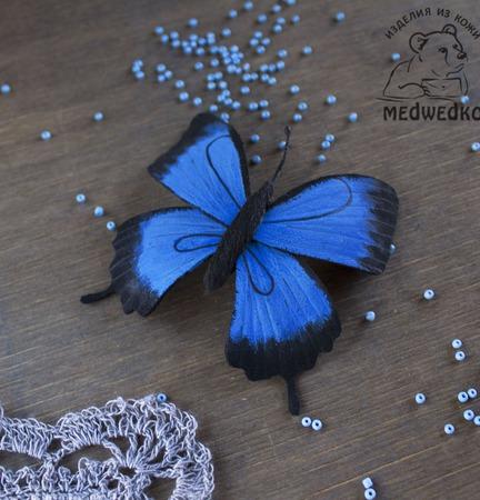 Брошь из кожи Бабочка Парусник Улисс ручной работы на заказ