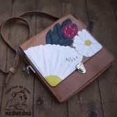 Портфель кожаный женский Ромашки