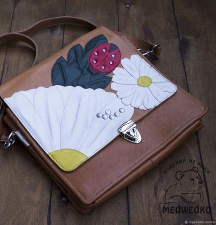 Портфель кожаный женский Ромашки ручной работы на заказ