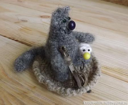 Мягкие пушистые игрушки Кот и Мышь, вязаные игрушки ручной работы на заказ