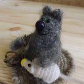 Мягкие пушистые игрушки Кот и Мышь, вязаные игрушки