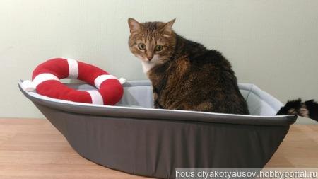 Лежанка для кошки Кораблик. ручной работы на заказ