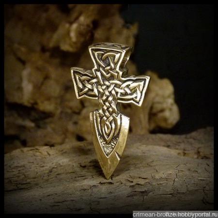 """Кулон - подвеска """"Кельтский Крест - Меч"""" бронза авторская ручной работы на заказ"""