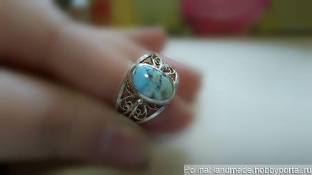 Кольцо с бирюзой природной Казахстан ручной работы на заказ