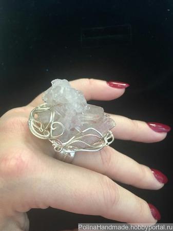 Горный хрусталь Крупное кольцо ручной работы на заказ