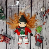 Текстильная кукла. Маленькая текстильная кукла.Новогодняя Гномочка