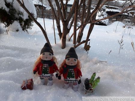 Текстильная кукла Новогодняя Гномочка ручной работы на заказ