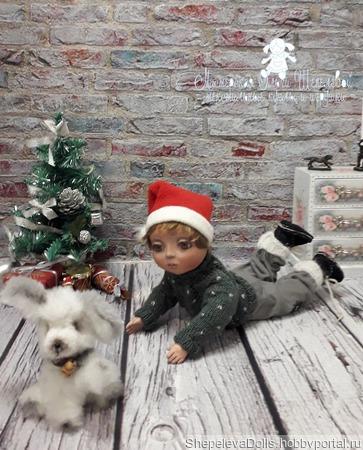 Кукла из полимерной глины Малыш и щенок ручной работы на заказ