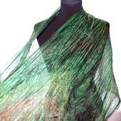 Шарф палантин зелёный с коричневым широкий длинный шёлковый шарф