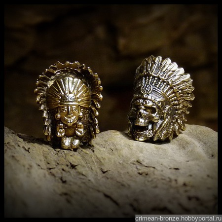 """Бусина """"Вождь индейцев"""" для темляков или браслетов бронза ручной работы на заказ"""