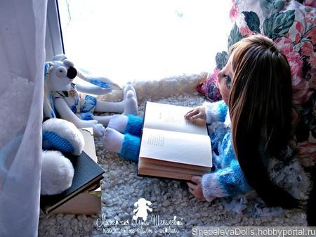 Текстильная кукла Девочка с зайкой.Текстильная подвижная кукла. ручной работы на заказ