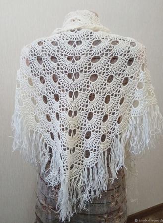 Мини-шаль Белый веер ручной работы на заказ