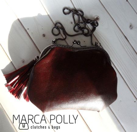 """Сумка с фермуаром """"MARKA"""", сумка из кожи ручной работы на заказ"""