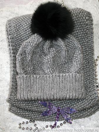 Комплект шапочка и шарф-снуд ручной работы на заказ