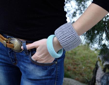 """Комплект браслетов """"Весенний"""" вязаные браслеты ручной работы на заказ"""
