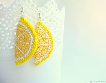 """Серьги """"Лимон"""" ручной работы на заказ"""