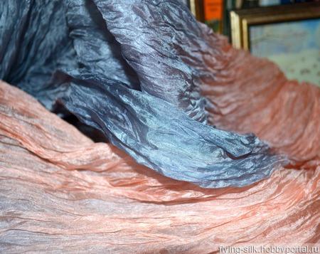Шарф палантин Крыло ангела нежно розовый с серым ручной работы на заказ