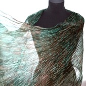 Шарф коричневый с зеленым широкий длинный палантин