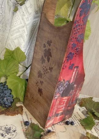 """Короб для вина """"Виноградная лоза"""", декупаж ручной работы на заказ"""