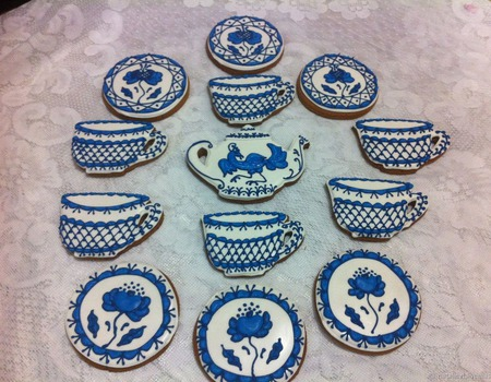 Набор пряников Гжель Приятного чаепития! ручной работы на заказ
