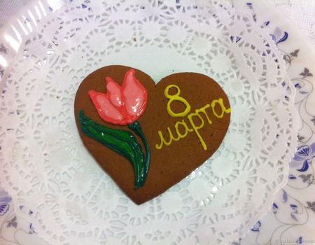 Акция! Пряник 8 марта Тюльпан сердечко ручной работы на заказ