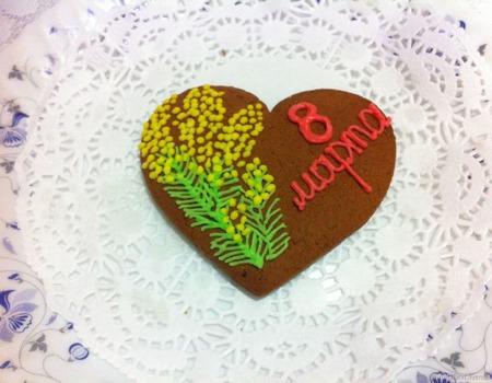 Акция! Пряник 8 марта Мимоза сердечко ручной работы на заказ