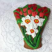 Пряник Букет цветов Нарциссы тюльпаны