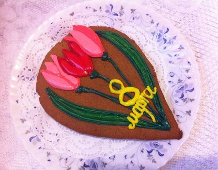 Акция! Пряник Букет тюльпанов 8 марта ручной работы на заказ