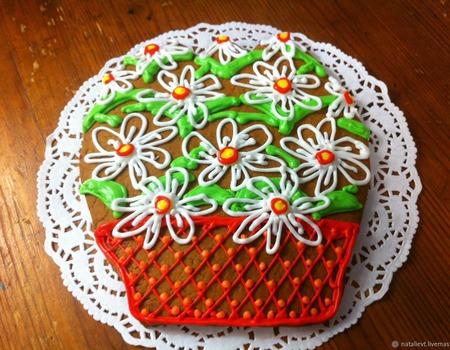 Пряник Корзина с цветами Ромашки ручной работы на заказ