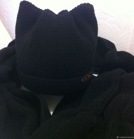 Комплект Кошачьи ушки черный ручной работы на заказ