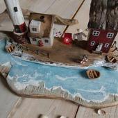 """Островок с маяком """"Уютный дворик"""", домики дрифтвуд"""