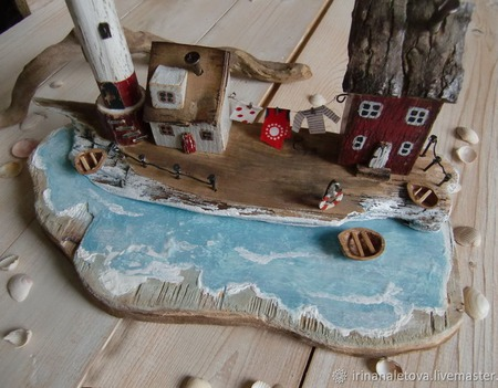 """Островок с маяком """"Уютный дворик"""", домики дрифтвуд ручной работы на заказ"""