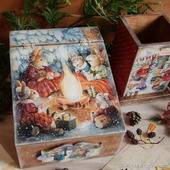 """Короб для мелочей и карандашница """"Праздник в зимнем лесу"""""""