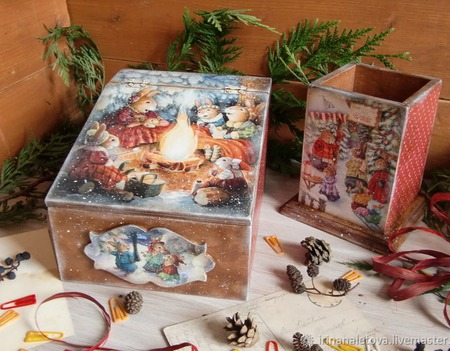 """Короб для мелочей и карандашница """"Праздник в зимнем лесу"""" ручной работы на заказ"""