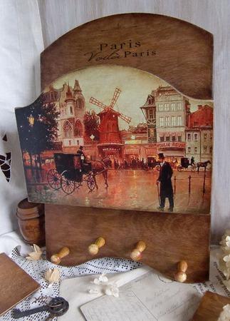 """Ключница настенная с карманом """"Moulin rouge"""" , ключница декупаж ручной работы на заказ"""