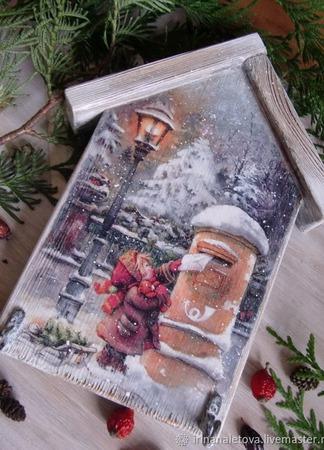 """Ключница вешалка """"Письмо Деду Морозу"""", ключница декупаж ручной работы на заказ"""