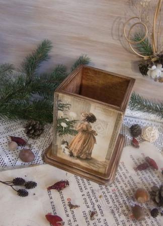 """Карандашница """"Счастливое рождество"""" декупаж ручной работы на заказ"""