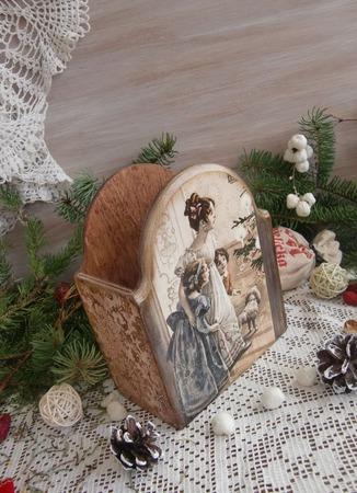 """Карандашница """"Счастливое рождество 2"""" декупаж ручной работы на заказ"""