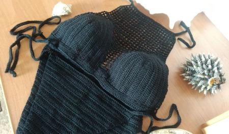 Черный купальник с сеткой ручной работы на заказ