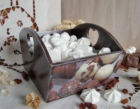"""Конфетница сухарница """" Любимые сладости"""" конфетница декупаж ручной работы на заказ"""