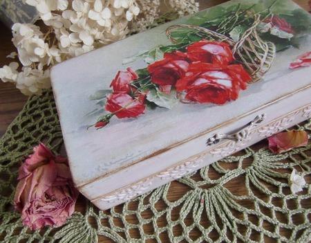 """Шкатулка купюрница  """"Корзинка с розами в подарок"""" ручной работы на заказ"""