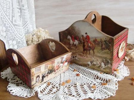 """Короб для специй """"Английская охота"""" короб для кухни, декупаж ручной работы на заказ"""