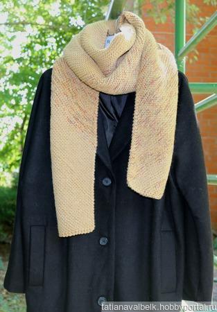 """Вязаный шарф широкий теплый """"Осень Золотая"""" ручной работы на заказ"""