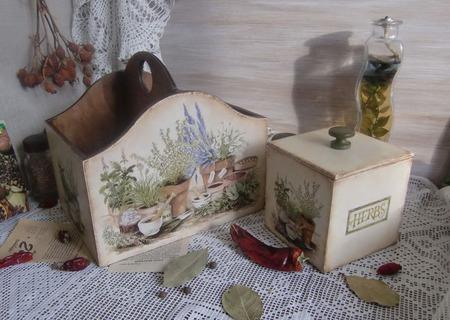 """Набор коробов для кухни """"Ароматные травы Прованса"""" ручной работы на заказ"""
