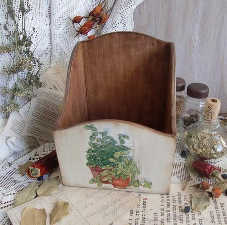 "Короб для специй ""Ароматные травы"" декупаж ручной работы на заказ"