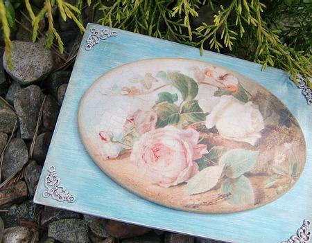"""Шкатулка """"Розы в бирюзе"""", декупаж ручной работы на заказ"""