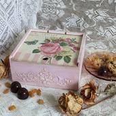 "Чайная  шкатулка - коробка ""Розовый чай"""
