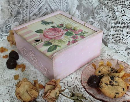 "Чайная  шкатулка - коробка ""Розовый чай"" ручной работы на заказ"