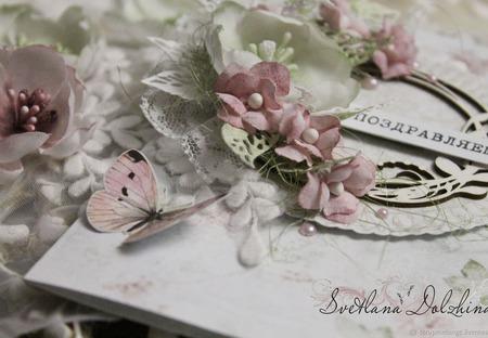 """Открытка ручной работы"""" Поздравляем"""" белая розовая ручной работы на заказ"""
