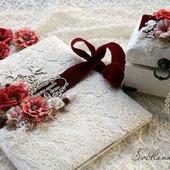 Набор свадебный папка для св-ва шкатулка для колец белый бордовый